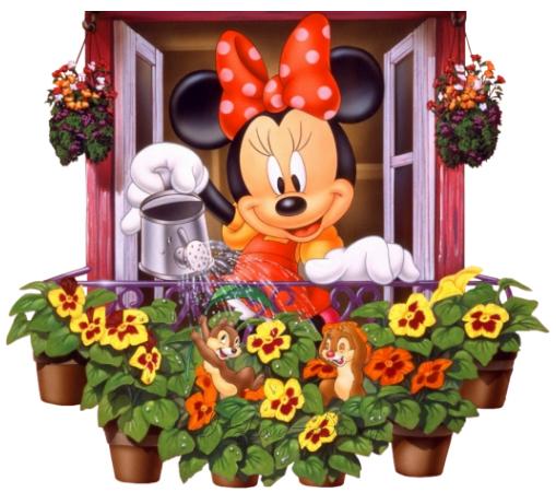 Minnie watering flowers 1