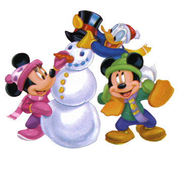 winter snowman mickey donald minnie